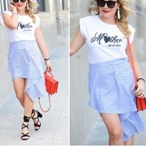 J.O.A. High low mini skirt blue white stripe NWT
